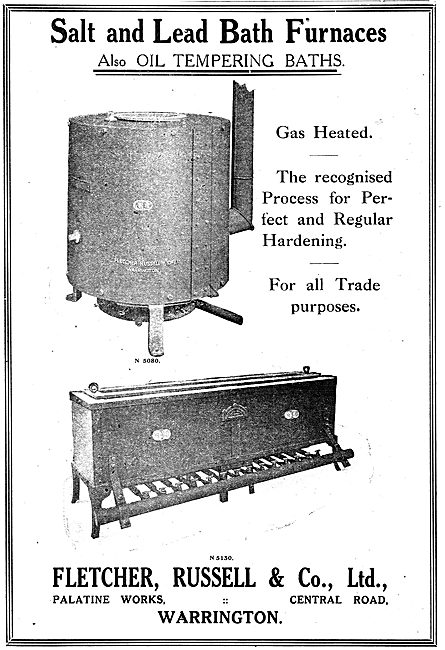 Fletcher Russell Salt & Lead Bath Furnaces For Aircraft Factories
