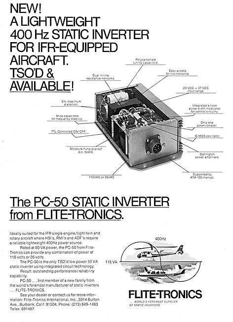 Flite-Tronics PC-50 Static Inverter
