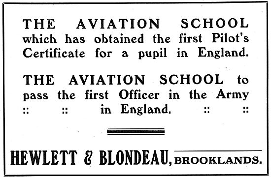 Hewlett & Blondeau Aviation School . Brooklands.