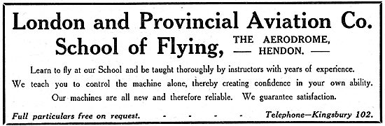 London & Provincial Aviation School Of Flying. Hendon 1914
