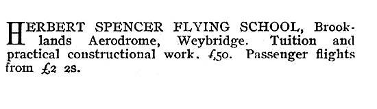 The Herbert Spencer Flying School Brooklands Weybridge