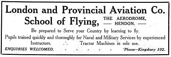 London & Provincial Aviation Co Flying School Hendon