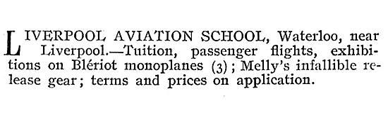 Liverpool Aviation School - Tuition, Passenger Flights Bleriot