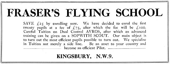 Fraser's Flying School 1922. Sopwith Scout