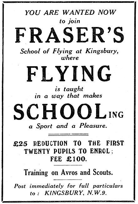 Fraser's Flying School. Kingsbury. 1922