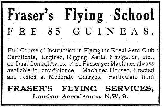 Fraser's Flying Services - Flying School Fees 85 Guineas.
