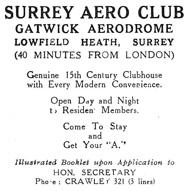 Surrey Aero Club. Gatwick Aerodrome 1931