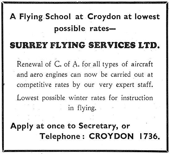 Surrey Flying Services, Croydon. Flying School. Aircraft Repairs