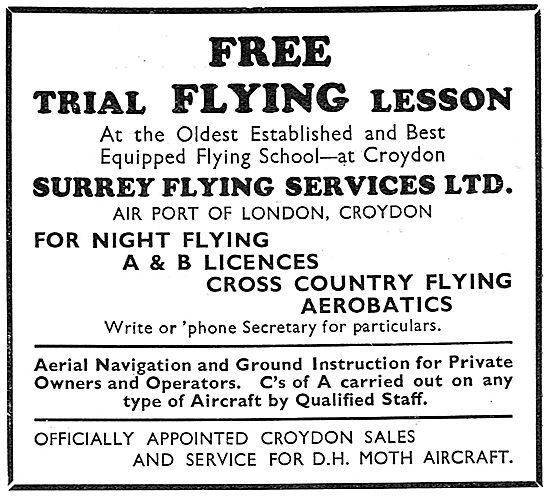 Surrey Flying Services, Croydon. Flying School 1931