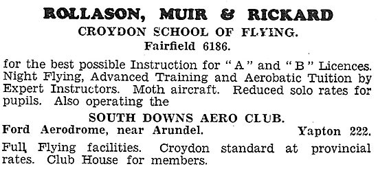 Rollason Muir & Rickard - Croydon. South Downs Aero Club. Ford