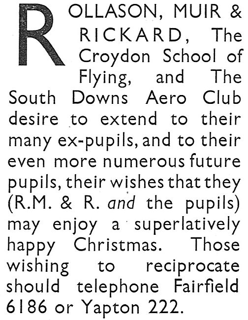 Rollason Muir & Rickard: - Flying Tuition At Croydon & Ford