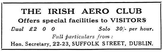 The Irish Aero Club, Suffolk St, Dublin. Visitors Welcome
