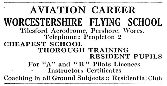 Worcestershire Flying School, Tilesford Aerodrome, Pershore.