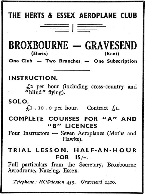 The Herts & Essex Aeroplane Club - Broxbourne & Gravesend