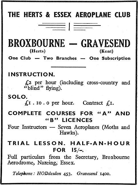 The Herts & Essex Aeroplane Club - Broxbourne & Gravesend