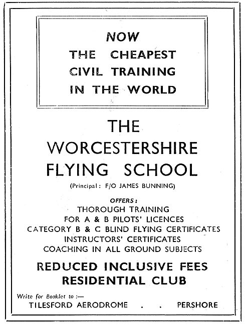 The Worcestershire Flying School - Tilesford Aerodrome. Pershore