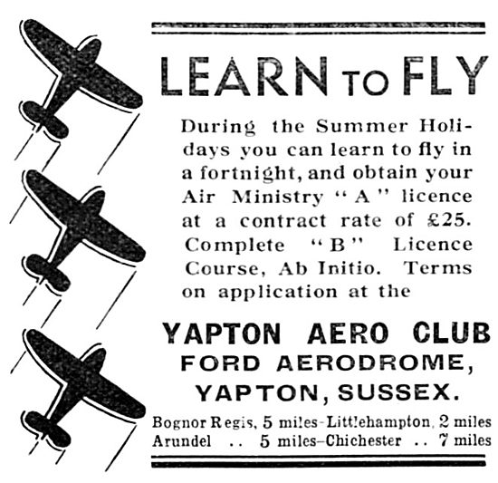Yapton Aero Club - Ford Aerodrome. Flying School