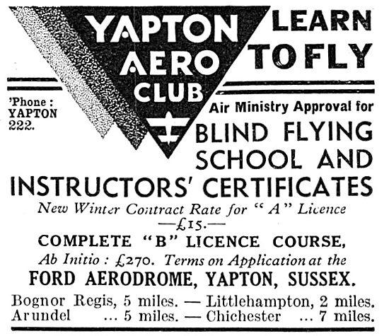 Yapton Aero Club - Ford Aerodrome. B LIcence.