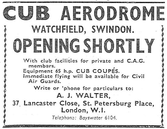 Cub Aerodrome Watchfield. Piper Cub Coupes A.J.Walter