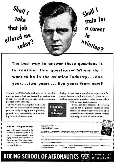 Boeing School Of Aeronautics. Oakland California 1942