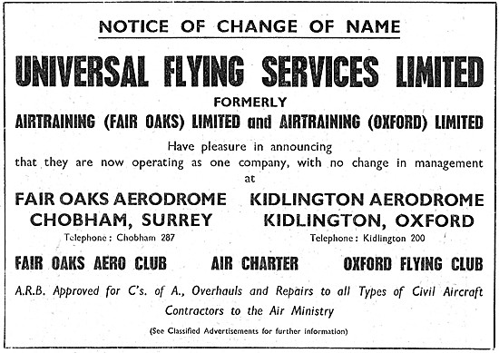 Universal Flying Services. Fair Oaks  Air Charter Oxford FC