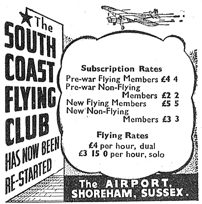 The South Coast Flying Club The Airport Shoreham 1947
