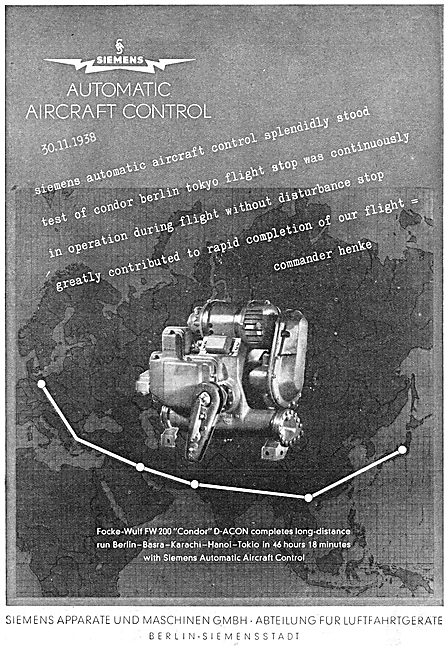 Focke-Wulf FW 200 Condor - Siemens Autopilot