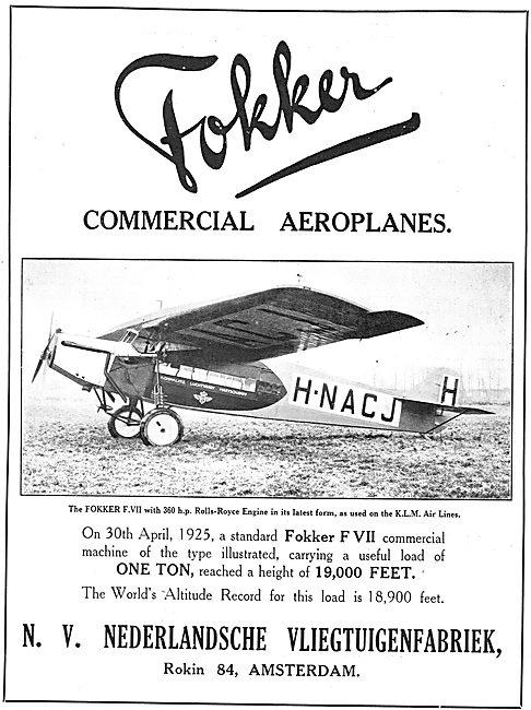 Fokker Commercial Aeroplanes. Fokker F.VII. H-NACJ
