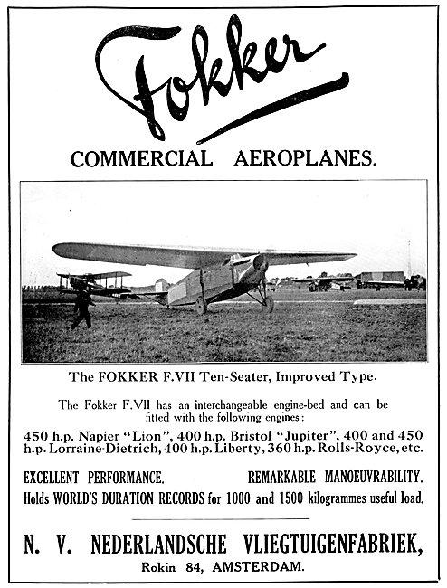 Fokker F.VII 10-Seater Airliner 1925