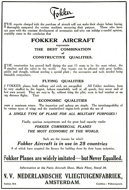 Fokker Aircraft Flying & Economic Quailities