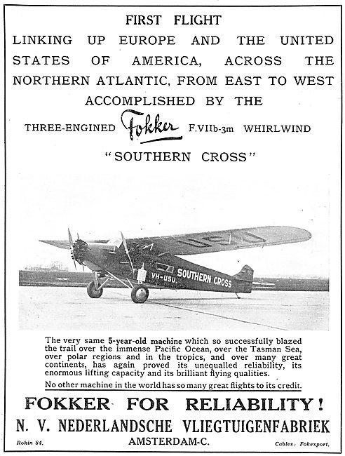 Fokker Three Engined FVIIb-3M Transport  Aircraft