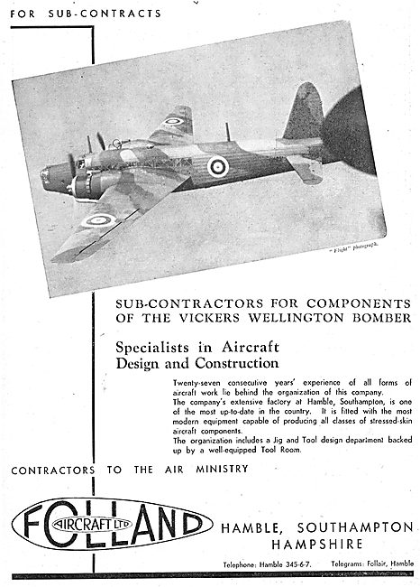 Folland Aircraft - Vickers Wellington Components
