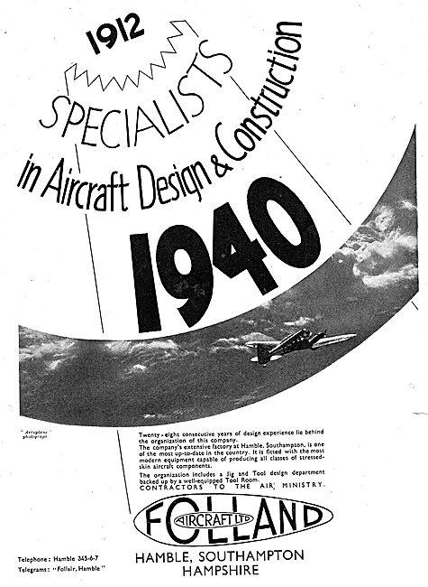Folland Aircraft. Hamble, Southampton - Designers & Constructors
