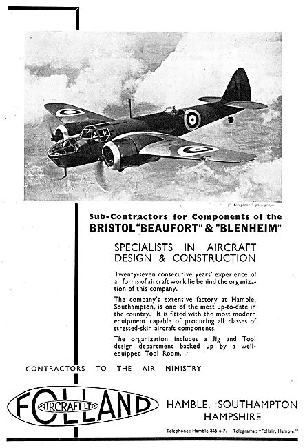 Folland Aircraft - Beaufort Blenheim