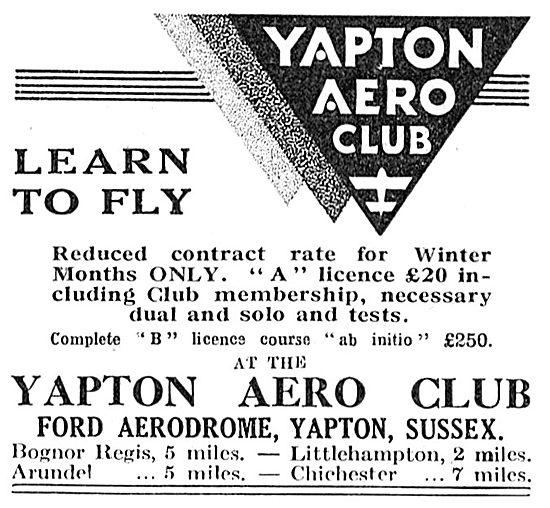 Yapton Aero Club - Ford Aerodrome, Yapton, Sussex