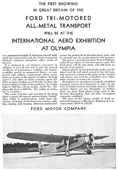 Ford Trimotor Monoplane 1929 Advert
