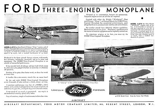 Ford Three Engined Monoplane Airliner