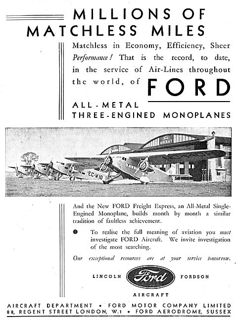 Ford All Metal Three Engined Monoplane