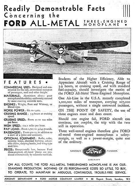 Ford Trimotor Monoplane ; G-ABHF