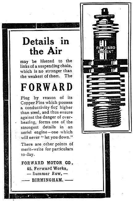 Forward Motor Co - Aero Engine Spark Plugs. Summer Row, Bham