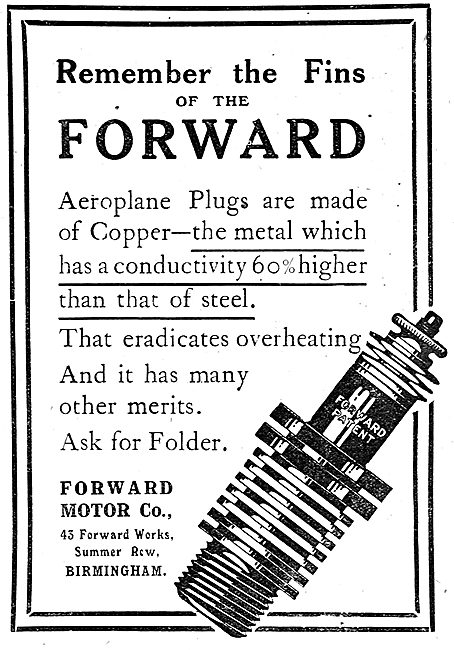 Forward Motor Co Aeroplane Sparking Plugs