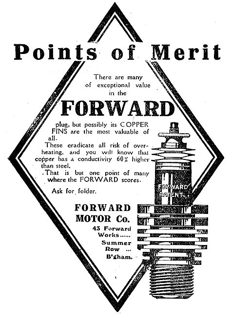 Forward Motor Co Aero Engine Sparking Plugs. Points Of Merit