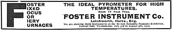 Foster Instrument Company.  Industrial Pyrometer 1919