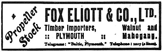 Fox Elliott & Co Ltd. Plymouth. Timber Importers. 1918 Advert