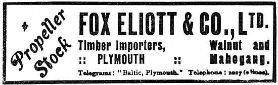Fox Elliott & Co Ltd. Plymouth. Propellers Stock Timber Importers