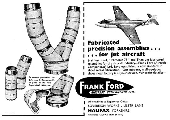 Frank Ford Aircraft Components Ltd Precision Assemblies For Jets