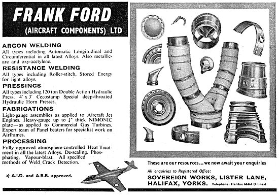 Frank Ford Aircraft Components. Welding, Pressings & Fabrications