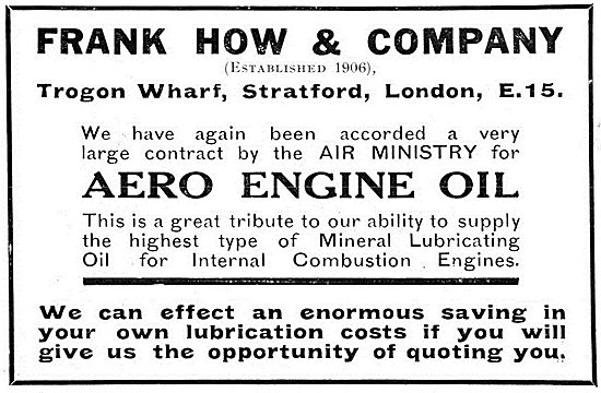 Frank How Aero Engine Oils 1925