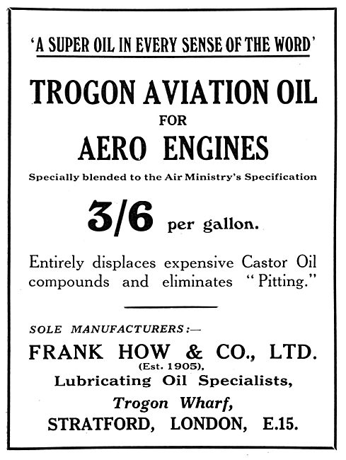 Frank How & Co: Trogon Aviation Oil 1929