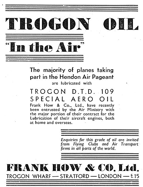 Frank How & Co: Trogon Oil For Aircraft Engines